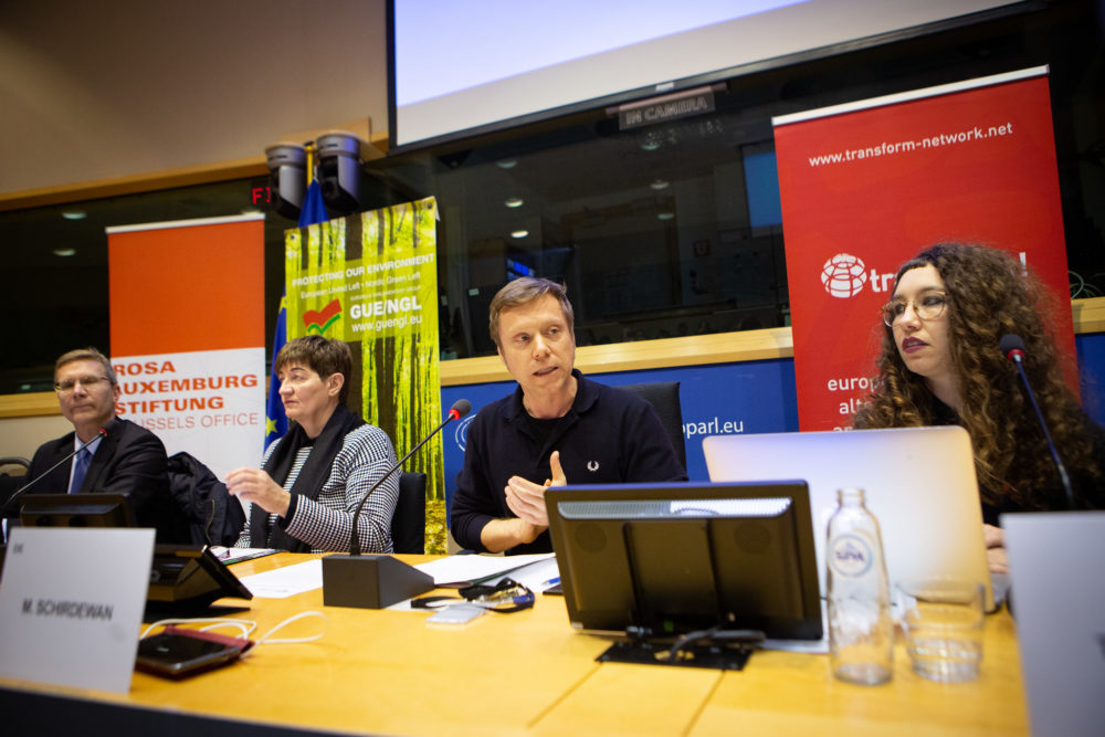Mark Nicklas, Cornelia Ernst, Martin Schirdewan and Thea Riofrancos